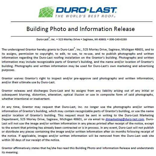 Building Photo and Information Release Form